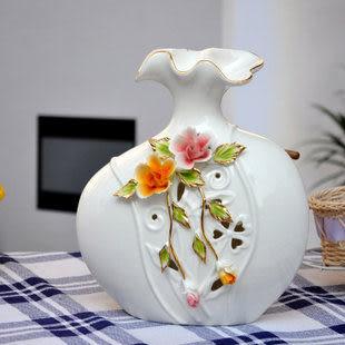 裝飾 家居工藝品櫥櫃 裝飾擺件陶瓷鏤空浮雕花瓶 C款