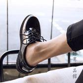 夏季皮鞋男韓版潮流百搭透氣鞋子男學生青少年英倫黑色小皮鞋 酷男精品館