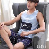 男士睡衣夏季薄款家居服休閒純棉背心短褲格子全棉兩件套裝xy1353【艾菲爾女王】