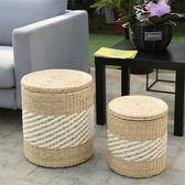 收納凳子儲物凳草編收納箱儲物箱大號實木可坐藤編圓形換鞋凳儲物wy  全館免運