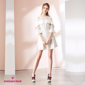【SHOWCASE】氣質名媛荷葉領透紗七分袖顯瘦短版洋裝(白)