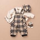 【金安德森】秋冬彌月禮盒-熊熊口袋吊帶褲套裝-卡色