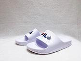 FILA 中性款白色一片式防水休閒涼拖鞋 4S355Q113