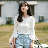 韓版學生顯瘦喇叭七分袖薄款針織衫女上衣t恤 【鉅惠↘滿999折99】