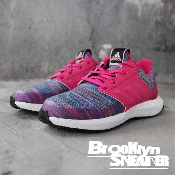 Adidas RapidaRun BTW K  桃紅 彩虹漸層 慢跑 中童 (布魯克林) 2018/11月 AH2603