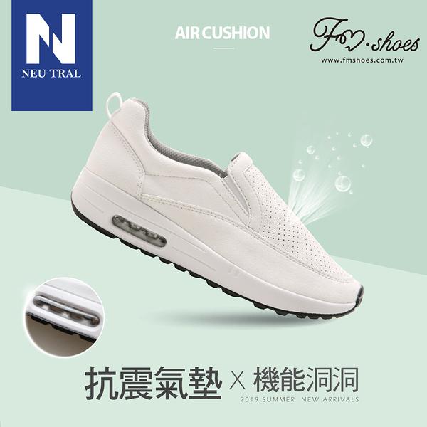 休閒鞋.洞洞透氣懶人氣墊鞋(白)-大尺碼-FM時尚美鞋-NeuTral.Summer