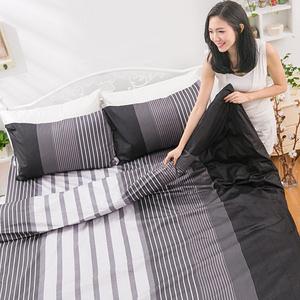【eyah】台灣製205織紗精梳棉雙人床包組-穿條紋睡衣的夜晚