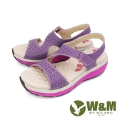 【南紡購物中心】W&M (女)雙帶厚底氣墊涼鞋 女鞋-紫