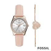 FOSSIL SCARLETTE MINI 粉色鑲鑽皮革女錶和愛心手鍊套組 32mm ES4607SET