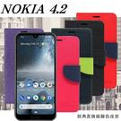 【愛瘋潮】諾基亞 Nokia 4.2  經典書本雙色磁釦側翻可站立皮套 手機殼 側掀皮套