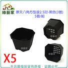 【綠藝家】景天八角方型盆2.5吋-黑色(...