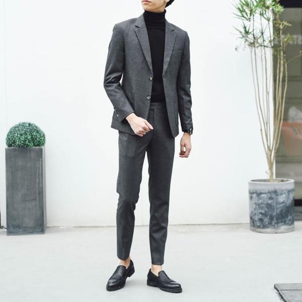休閒西裝外套 小西裝男套裝修身正韓英倫風外套商務正裝男帥氣新郎結婚休閒西服