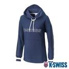 K-SWISS Heritage Tape Hoodie時尚連帽長袖上衣-女-深藍