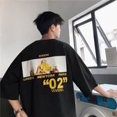 夏季男學生7七分袖衣服韓版潮流短袖