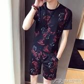 新款夏季男士休閒運動時尚套裝夏日韓版潮流帥氣短袖短褲兩件  潮流前線