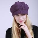 鴨舌帽 秋冬季新款純色韓版加絨時尚保暖女士鴨舌帽 針織柔軟兔毛線帽子