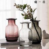 復古氣泡玻璃花瓶透明彩色花器插花擺件Y-3400優一居
