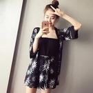 2017韓版印花開衫外套平口高腰連體褲時尚兩件套(兩色入)