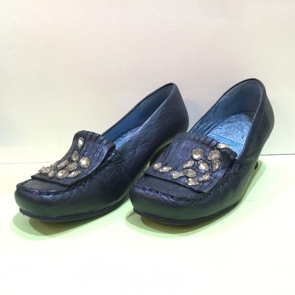 【Macanna麥卡納】高跟鞋-晶鑽藏青藍-深藍-24.5