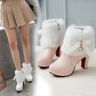 中筒靴 2020新款甜美高跟女鞋秋冬季短...