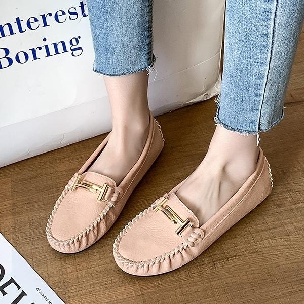【春天穿新鞋】MIT舒適百搭 金屬扣平底豆豆鞋 白鳥麗子(三色任選 / 超多現貨)