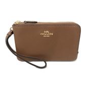 【COACH】經典LOGO 牛皮L型雙層拉鍊手拿包零錢包(楓糖色)