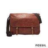 FOSSIL Buckner 硬派男子 咖啡色真皮公事包 #側背包 MBG9338222