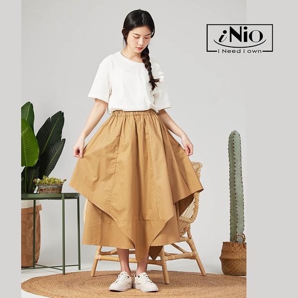 雙層設計不規則下擺鬆緊腰長裙(S-L適穿)- 現貨快出【C0W2201】 iNio 衣著美學