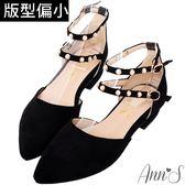 Ann'S偏執甜-珍珠雙繫帶平底尖頭鞋-黑