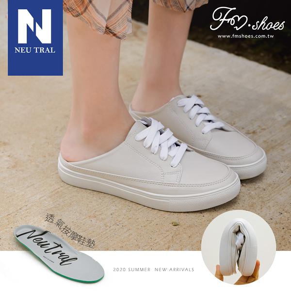 穆勒鞋.防潑水軟革穆勒鞋(白)-大尺碼-FM時尚美鞋-Neu Tral.Diverse