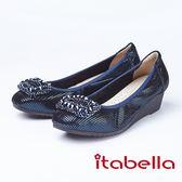 itabella.方型珠珠裝飾全真皮包鞋(8556-53藍色)