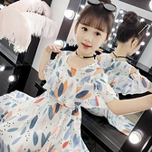 女童洋裝夏裝2021新款童裝洋氣雪紡裙子大童兒童夏款女孩公主裙 幸福第一站