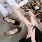 現貨出清春夏季新款韓版包頭搭扣尖頭粗跟中跟鞋粉色中空涼鞋百搭女鞋子潮  9-17