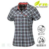 維特FIT 女款吸排抗UV彈性格紋短袖襯衫 時尚灰 HS2201 吸濕排汗 格紋襯衫 排汗襯衫 OUTDOOR NICE