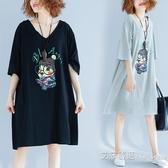 加肥加大尺碼女裝夏季200斤胖妹妹遮肚子洋裝顯瘦藏肉洋氣減齡t恤 艾莎嚴選