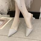 穆勒鞋尖頭半拖鞋女夏新款時尚粗跟包頭涼拖高跟網紅穆勒拖鞋女外穿 新年禮物