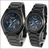 【萬年鐘錶】 Roven Dino 羅梵迪諾 楊丞琳代言 全黑藍字對錶 RD9803MB-RD9803LB
