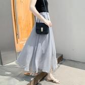半身裙夏季女裝中長款半身裙大擺素色仙美A字長裙OL文藝氣質淑女裙新品