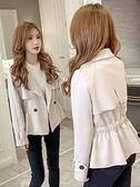 短款外套 2021年秋冬季風衣翻領韓版收腰顯瘦新款外套女小西裝短款皮絨夾克 韓國時尚週