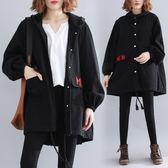 刺繡字母連帽風衣外套 冬裝新款寬鬆大尺碼女裝單排扣中長款工裝長袖大衣