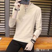 秋裝長袖男裝中國風個性V領打底衫男士棉麻簡潔英倫上衣 店慶