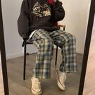 格子褲 春夏季最韓版寬鬆學生高腰顯瘦格子褲闊腿褲ins直筒休閒褲女 芊墨左岸