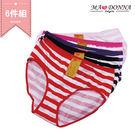 彩漾 條紋包臀內褲6件組 加大 中大尺碼 3206-4  (隨機選色)