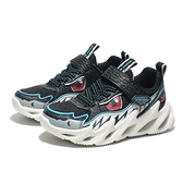 SKECHERS 慢跑鞋 SHARJ BOTS 黑 鯊魚 休閒鞋 中童 (布魯克林) 402112LBKW