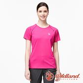 【wildland 荒野】女 彈性輕量扒線圓領排汗衫『桃紅』0A91631 戶外 運動 露營 登山 吸濕 排汗 快乾