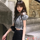 一字領上衣 一字肩格子襯衫女2021年春季新款韓版修身泡泡袖短款襯衣短袖上衣 愛丫 免運