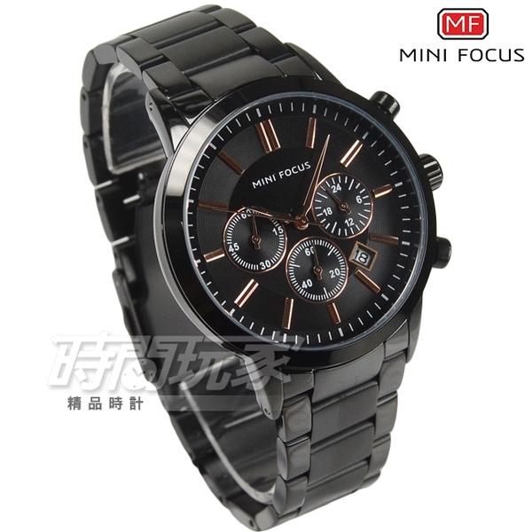 MINI FOCUS 真三眼流行男錶 日期視窗 防水手錶 學生錶 IP黑電鍍 MF0188黑【時間玩家】