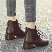 短靴女2018秋冬新款瘦瘦靴41百搭粗跟短筒馬丁靴平底靴子大碼女鞋