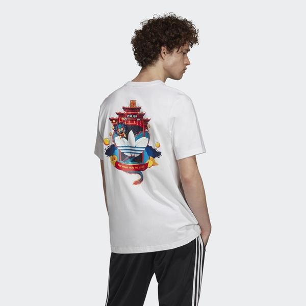 【現貨】ADIDAS ORIGINALS 男裝 短袖 休閒 印花 龍 中國風 白【運動世界】GN4104