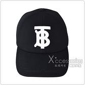 BURBERRY白字刺繡TB LOGO棉質扣式棒球帽(黑)